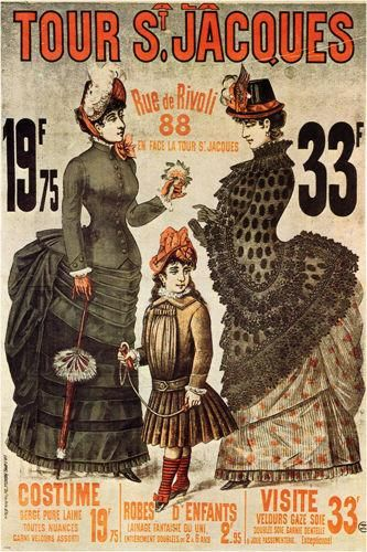 clothing store france VINTAGE ad poster LADIES 1885 OLD SCHOOL 24X36