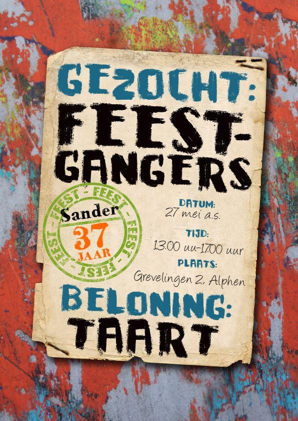 YVON graffiti uitnodiging mannen tiener, verkrijgbaar bij #kaartje2go voor €1,89