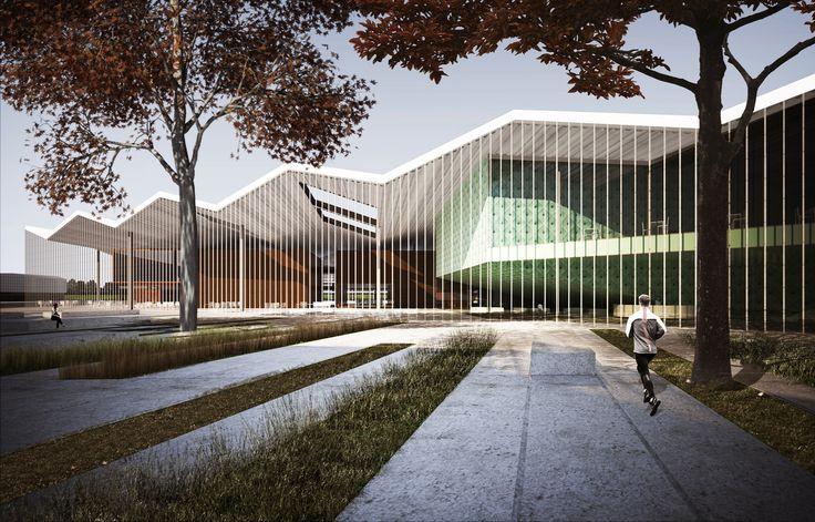 Liên thi thiết kế Win Quốc với Complex Modular School, Xem từ đại lộ Strip.  Hình ảnh Courtesy of Thiết kế Quốc gia của Inter