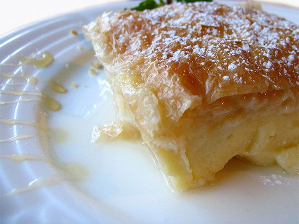 GREEK GALAKTOBOUREKO (cream milk pie)  Filling  4 C milk  1/2 C sugar  3/4 C farina or fine semolina  1/4 C butter  1 t vanilla  2 t orange zest  5 eggs, beaten  1 1/4 package of Filo Dough  3/4 C butter, melted  Syrup:  5 C sugar  5 C water  2 cinnamon sticks  1 orange, cut in half