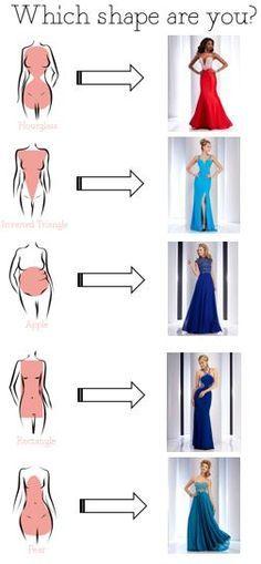 Aquí una opciones para que busques tu vestido acorde a tu forma de cuerpo. Busca la tuya, y ponte a buscar tu vestido perfecto.