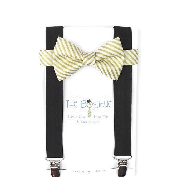 Gold Striped Bow Tie Black Suspenders by TheBoytiqueExpress