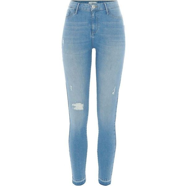 River Island Light blue ripped released hem Molly jeggings ($84) ❤ liked on Polyvore featuring pants, leggings, blue, jeans, jeggings, women, light blue jeggings, light blue leggings, blue jeggings and denim leggings