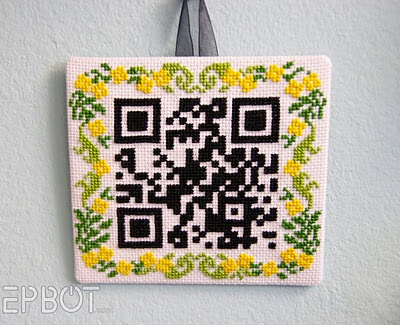 """Cross stitch pattern that is a scannable QR Code that when scanned by your cell phone reads """"Home Sweet Home."""""""