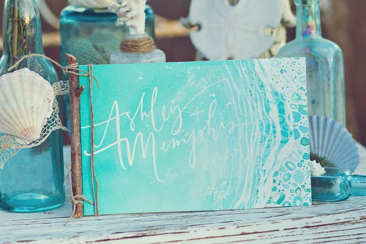 Amazing ocean-inspired wedding invitation // photo by Closer to Love Photography, design by Julie Song Ink