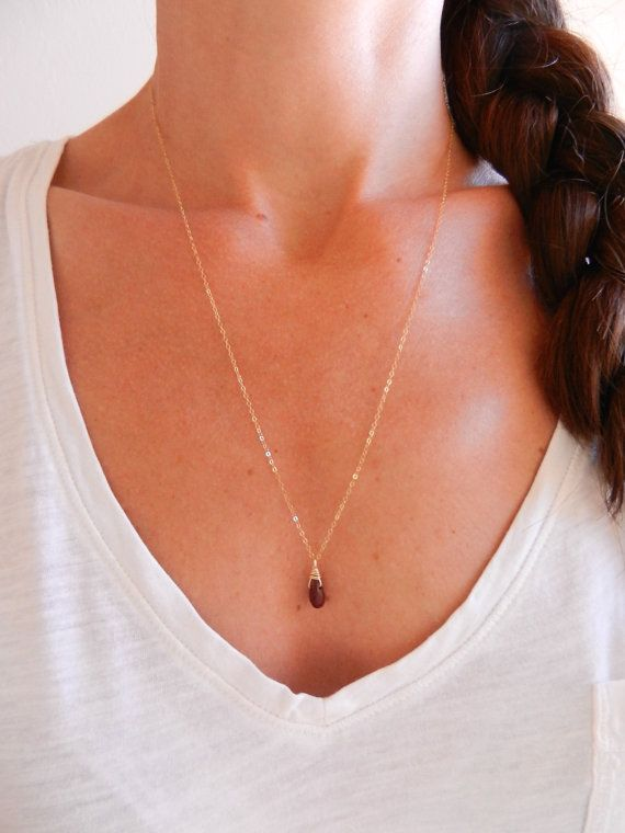 Minimalist Dainty Necklace 14k Gold Fill by WildGreenBeauty