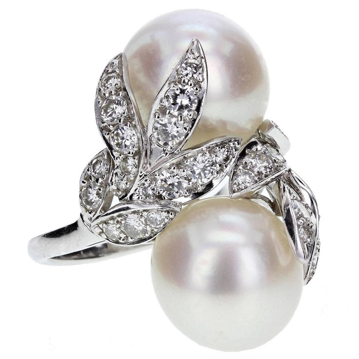 Van Cleef & Arpels New York Pearl and Diamond Ring | From a unique collection of vintage cluster rings at https://www.1stdibs.com/jewelry/rings/cluster-rings/