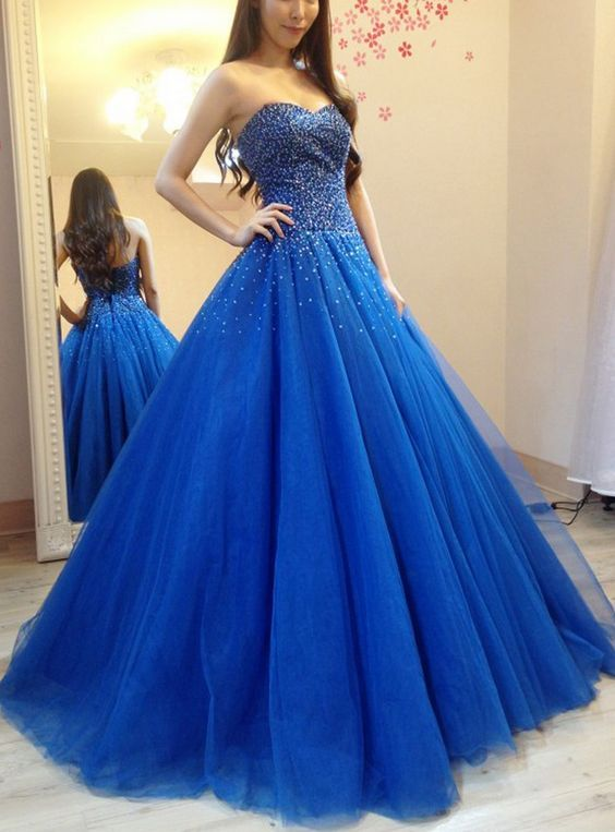 9059531eca Elegant Tulle Royal Blue Ball Gown Prom Dress