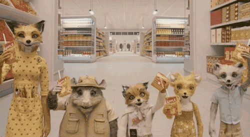 Fantastic Mr Fox toast. I like how everybody´s got apple juice exept Ash, he´s got grape, like reforcing the statement that he is different.