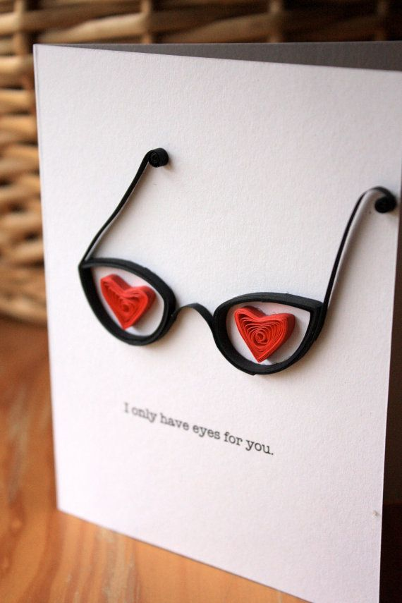 Vintage Glasses Card  I Love You  Unique by SweetSpotCardShop,