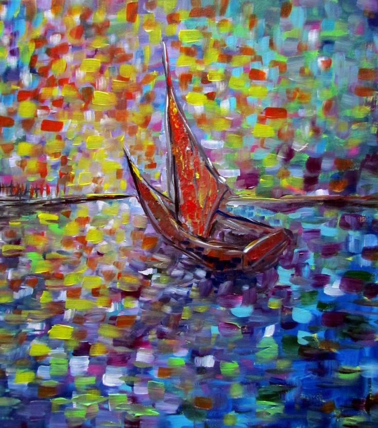 Original Modern Abstract Seascape Painting  by Luiza Vizoli