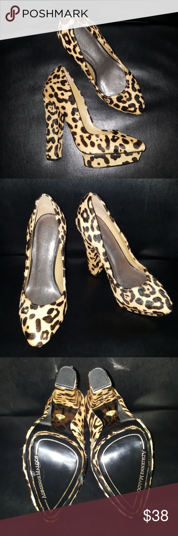 """ADRIENNE MALOOF Platform/Chunky Leopard Heel Adrienne Maloof calf hair leopard heel. 5 1/2"""" heel. These shoes have never been worn. Size 7M Adrienne Maloof Shoes Platforms"""