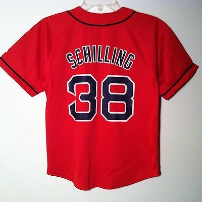 Boston Red Sox MLB Red #38 Curt Schilling Baseball Jersey Shirt YOUTH Size 10/12