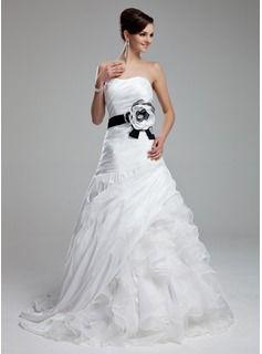Forme Princesse Bustier en coeur Traîne courte Taffeta Organza Robe de mariée avec Ceintures Fleur(s) Robe à volants