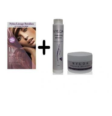 Pack Complet Lissage Brésilien Sans Formol Nyloa et Shampoing et Masque Keratine sans sel tous types de cheveux Nyloa