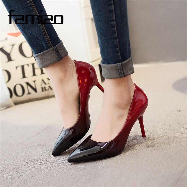 MS 2017 Mulheres bombas Moda dedo apontado couro envernizado stiletto Casamento Sapatos de salto alto sapatos de Verão mulher de salto alto em Bombas das mulheres de Sapatos no AliExpress.com | Alibaba Group