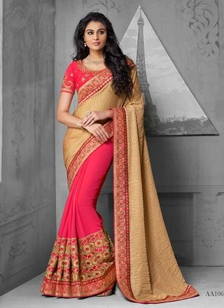 Dashing Red And Brown Faux Georgette Embroidery Patch Border Work Saree http://www.angelnx.com/Sarees/Party-Wear-Sarees