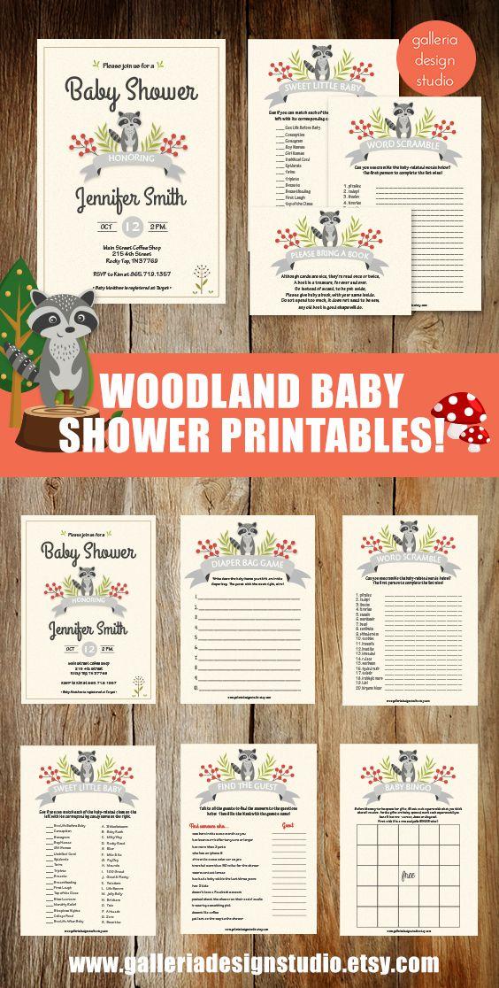 41 best galleria design studio images on pinterest design studios woodland baby shower printables raccoon baby shower invitation woodland raccoon baby shower games stopboris Gallery