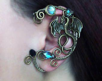 Dragon Ear Cuff Wire Jewelry No Piercing Ear Cuffs Wire Jewelry Wire wrapped ear cuffs Jewelry