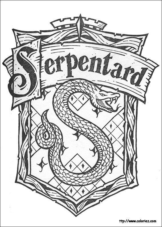 Slytherin Crest Black And White Harry Potter Watercolor Printable