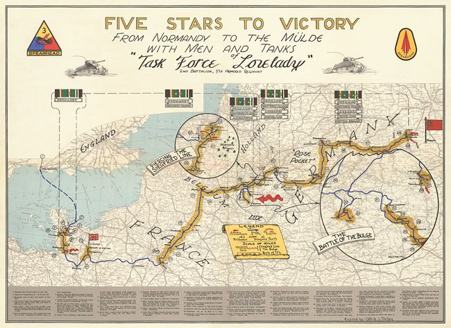 Rd Armored Division Of The US Army Route And Campaign Map Of - Us map ww2