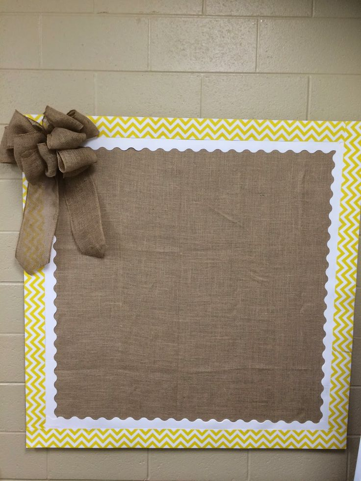 Burlap + chevron bulletin board