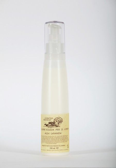 Emulsione fluida per il corpo con olio di mandorle, Karitè e lavanda