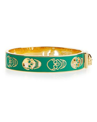Pierced Skull Bangle Bracelet, Green by Alexander McQueen at Bergdorf Goodman.