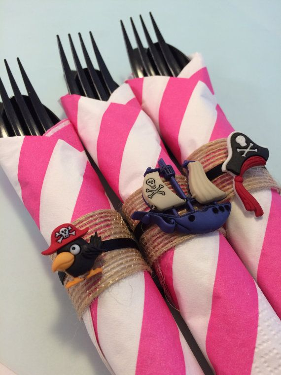 Pirate Party Flatware with Pirate Napkin Rings; Pirate Princess Party Supplies, Pirate Dessert Table