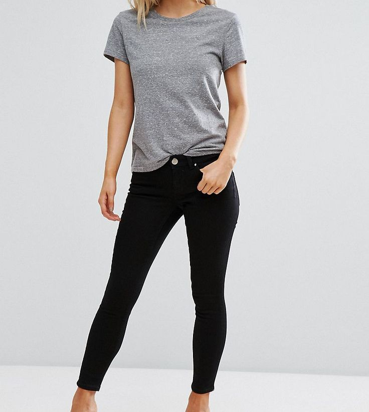 ASOS PETITE Whitby Low Rise Skinny Jeans In Clean Black - Black