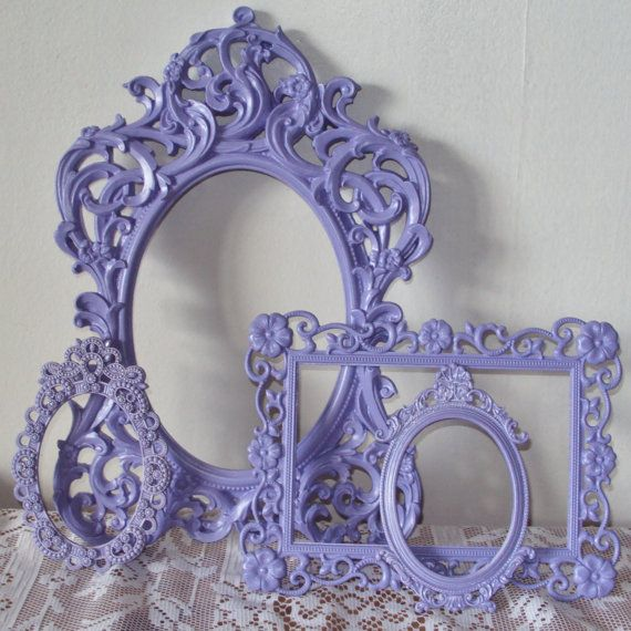 Lace ornate french lilac lavender purple open vintage wall gallery set.... I think I'm in love.....swoon