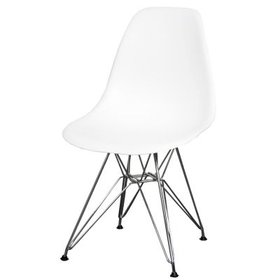 Albion Retro Style Molded Eames Inspired Wire Legs Chair, White