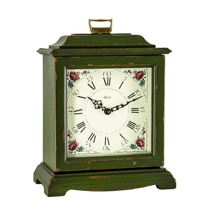Hermle AUSTEN Dark Green Quartz Mantel Clock 22518-DGQ Bracket clock in a dark green finish with a Quartz dual chime movement.