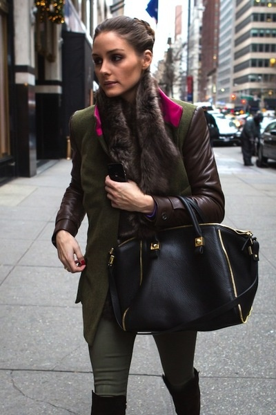 Olivia Palermo Looks, Streetstyle Inspiration. brown leather sleeves, green jacket, green skinnies, high black boots and brown fur!
