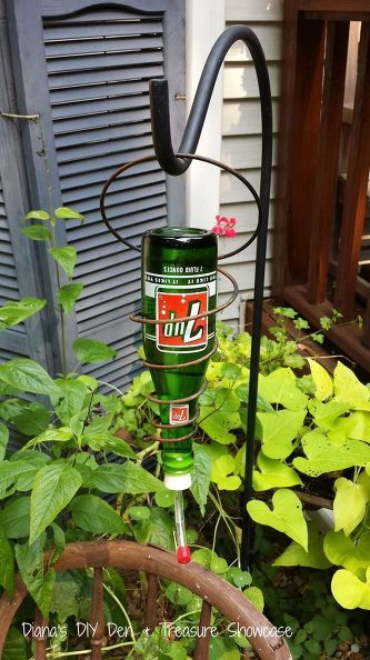 vintage soda bottle bedspring hummingbird feeders, diy, outdoor living, repurposing upcycling
