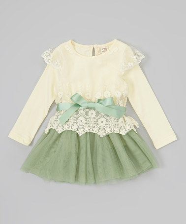 Take a look at this Ivory & Green Lace Tutu Dress - Infant, Toddler & Girls by Sweet Cheeks on #zulily today!