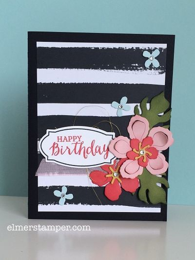 It almost looks like it's inspired by Kate Spade!  Gorgeous card using the Botanical Builder Framelits and Rose Wonder Bundle created by Kristin Kortonick #stampinup