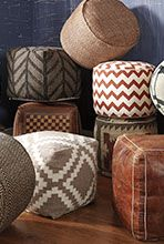Poufs - We have quite a few on our showroom floor with our Urbanology display! Adds a fun pop of color, pattern, and texture to any room. -by Ashley Furniture-