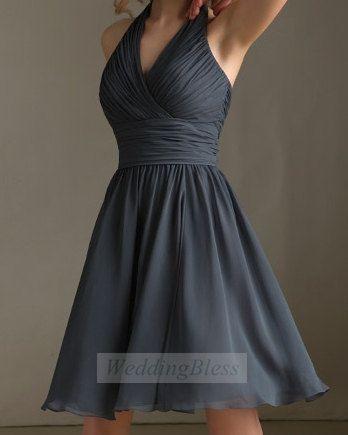 Dark Grey Bridesmaid Dress Charcoal Vneck by WeddingBless on Etsy, $88.00