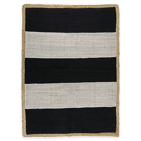 Black And White Stripe Jute Natural Fiber Rug Park B