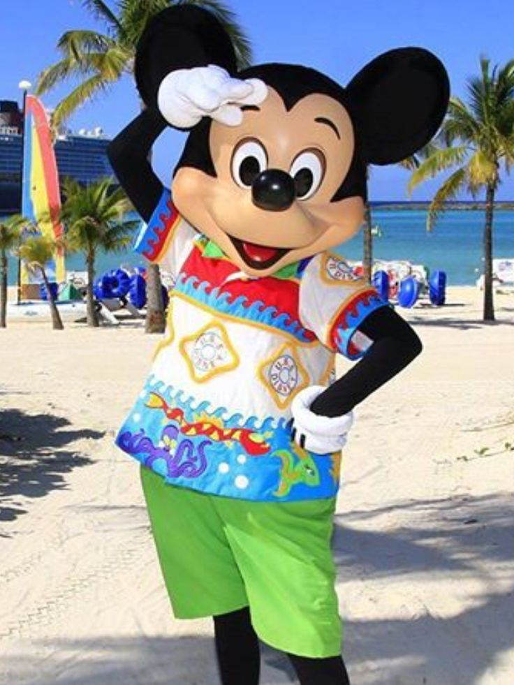 Mickey Mouse striking a pose on the beaches of Castaway Cay
