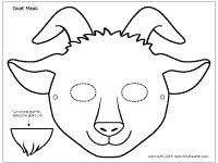 Goat mask coloring page