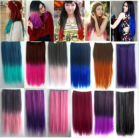 Purple Synthetic ombre clip in hair extensions Hairpieces colorful hair  two tones 24inch 120 5Clips straight hair extentions