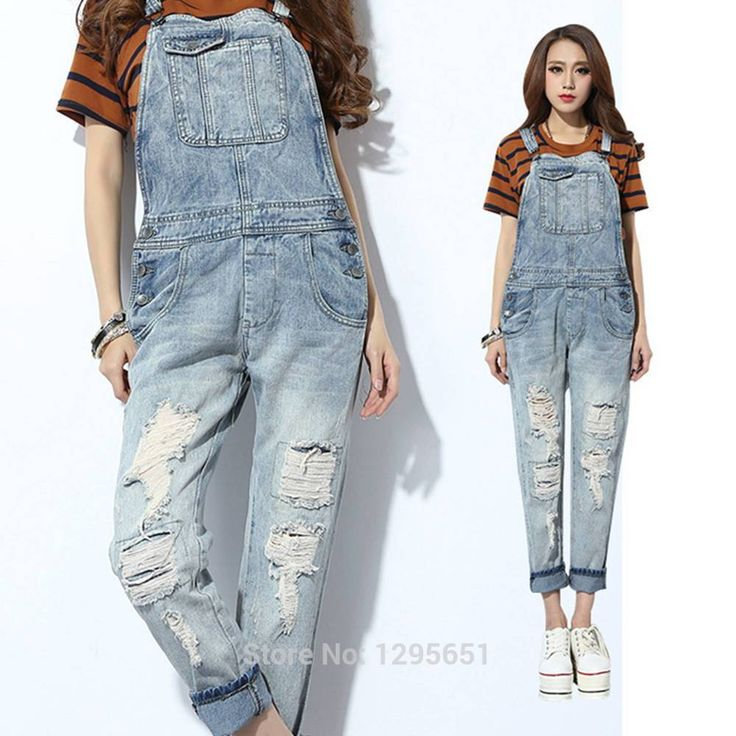 2014 Autumn Winter New Women Jean Jumpsuit Light Blue Ripped Overalls Torn Destroyed Jean Rompers Size 26-30