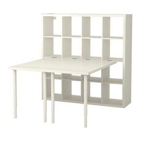 IKEA - KALLAX, Schreibtischkombination, weiß, , Sieht von allen Seiten gut aus und kann auch als Raumteiler benutzt werden.Vorgebohrte Löcher in der Platte erleichtern das Anbringen der Tischbeine.Die Tischplatte kann in der gewünschten Höhe montiert werden, da die Beine zwischen 60 und 90 cm verstellbar sind.Der Tisch lässt sich problemlos umstellen; Kunststoffkappen schützen den Fußboden vor Kratzern.Zum Anbringen aller Tischplatten, die nicht aus Glas sind, am KALLAX Regal.Der Beschlag…