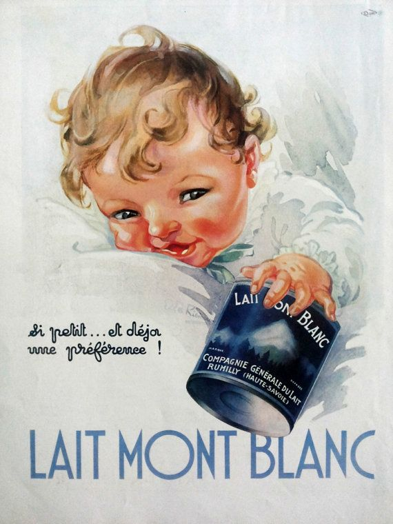 Lait Mont Blanc authentic poster 1937 Baby Milk by Ella by OldMag