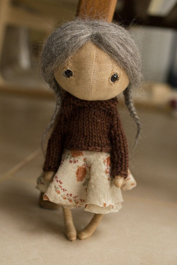cloth doll  handmade doll  art doll by totootse on Etsy...can't decide if she's creepy or not!