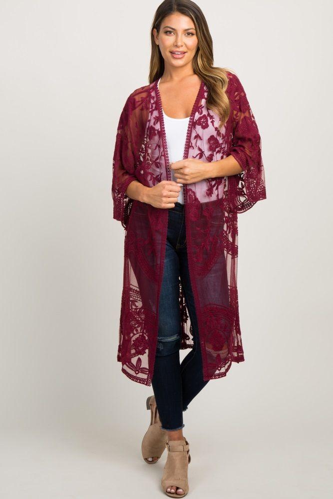 1b710155a5938 Burgundy Lace Mesh Long Kimono in 2019 | Clothes | Lace kimono ...