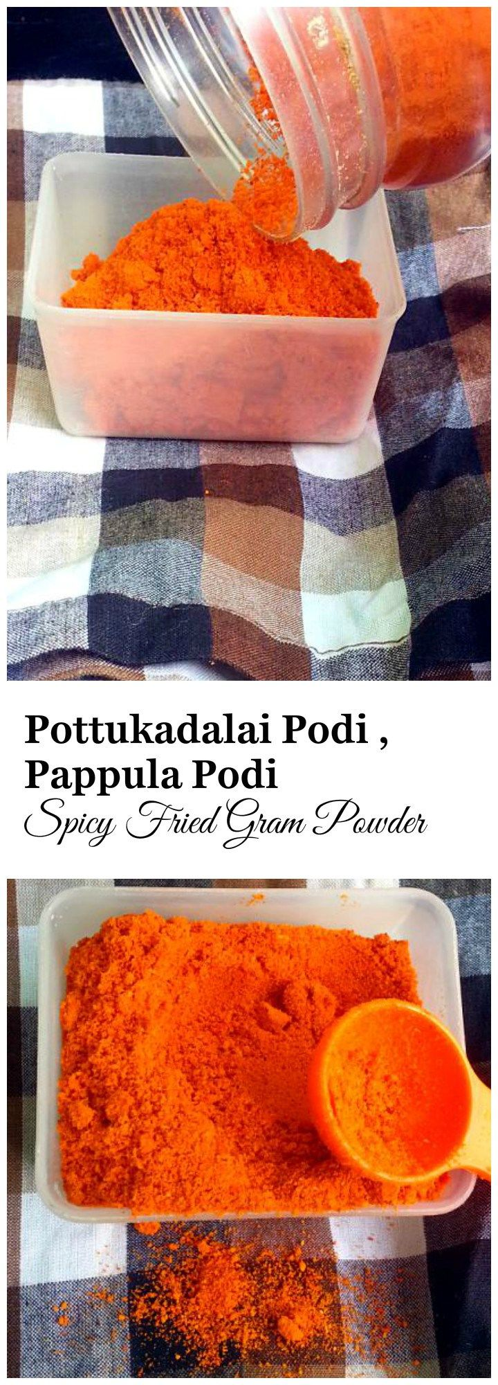 Pottukadalai Podi Recipe, meaning Fried Gram Powder. This is a could accompaniment for breakfast when there is no time to make chutneys