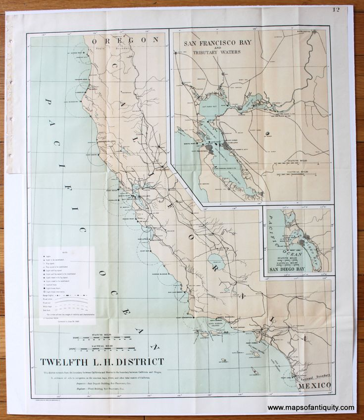San Francisco Map Richmond District%0A Twelfth L H  District  California Lighthouse District   Antique Maps and  Charts  u     Original